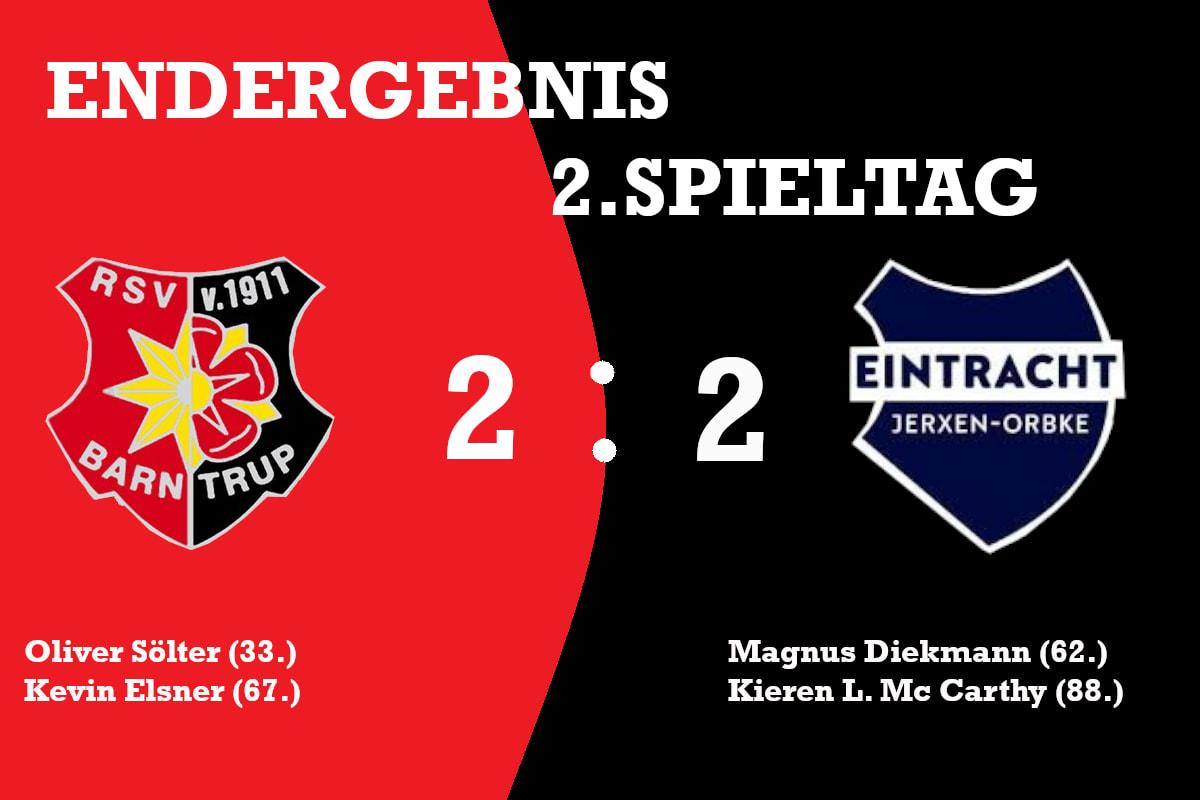 +++ RSV Barntrup – SV Eintracht Jerxen-Orbke 2:2 – Erneuter Nackenschlag kurz vor Anpfiff +++